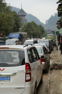 Traffic Gridlocked in Zhaoxing, Guizhou