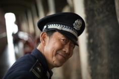 A laughing policeman, Maijishan, Gansu
