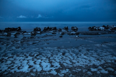 Lakeshore and snow at dusk, Lake Qinghai
