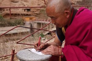 Monk at Bingling Caves, Lanzhou