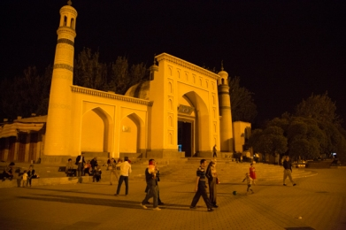 Id Kah Mosque by night, Kashgar