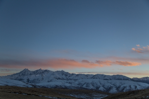 Sunset over the Trola Mountains, outside Ganzi