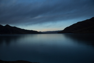 Frozen reservoir at dusk, Serqu