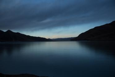 Frozen reservoir at dusk, Serqu