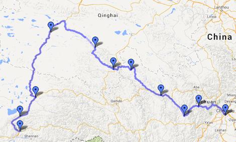 Chengdu-Yushu-Lhasa Map