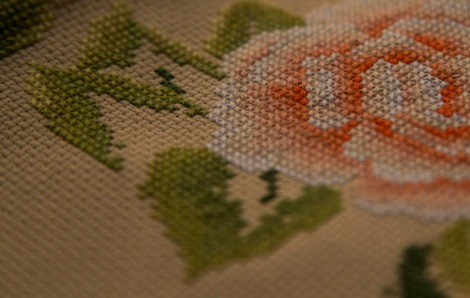Cross-stitch in action © Jo James