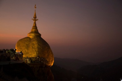 The Golden Rock at dusk