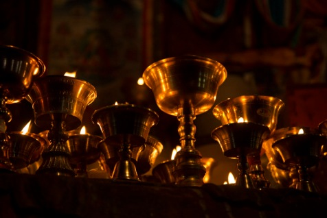 Butter lamps, Gyantse