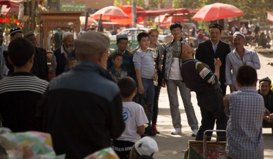 Traditional Uyghur nose-balancing act, Yarkand © Jo James
