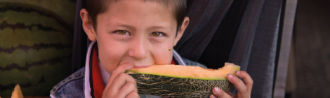 Boy with melon.