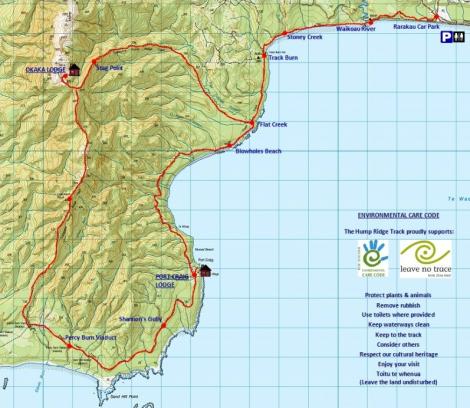 Hump Ridge Track Map